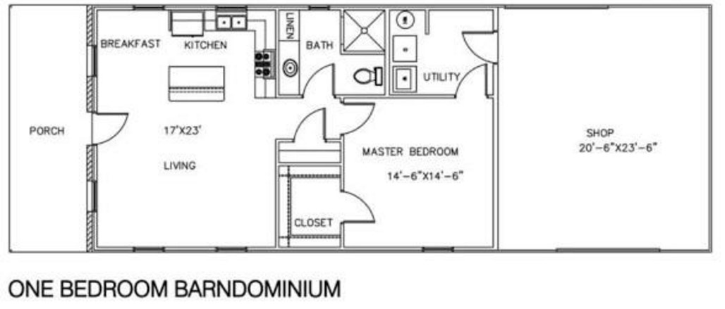 1 Bedroom and 1 Bathroom Barndominium Floor Plans