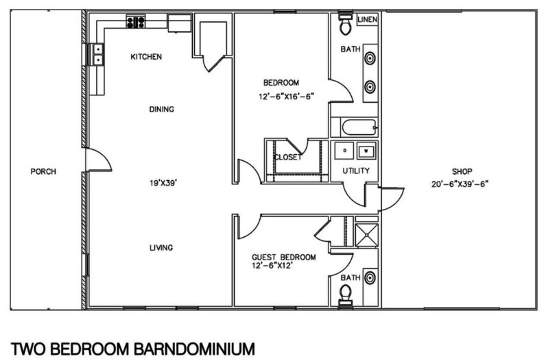 2 Bedrooms Barndominium Floor Plans