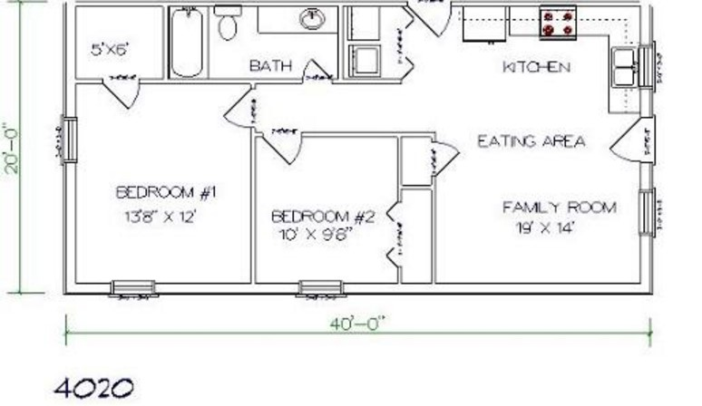 2 Bedrooms and 1 Bathroom Barndominium Floor Plans