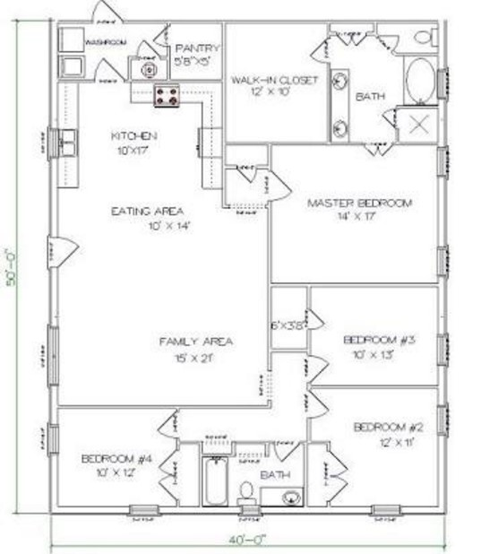 4 Bedrooms And 2 Bathrooms Barndominium Floor Plans