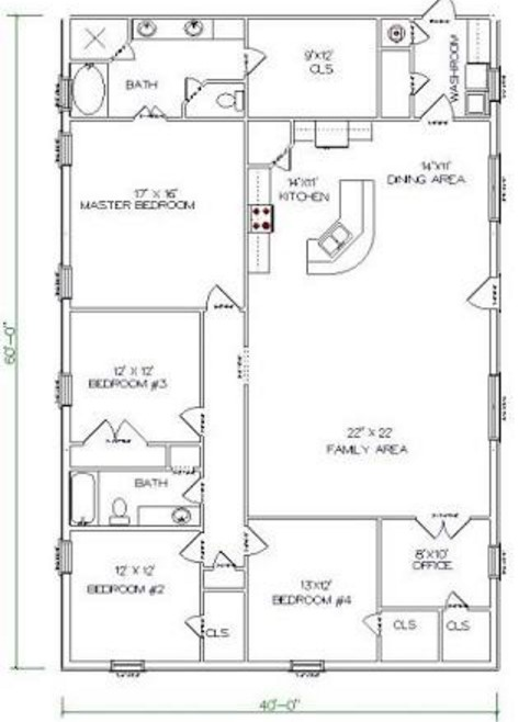 5 Bedrooms and 2 Bathrooms Barndominium Floor Plans