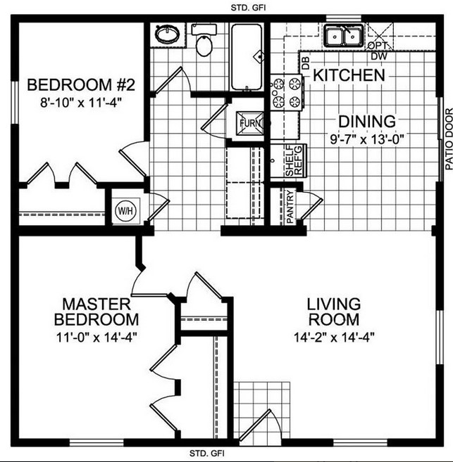 Barndominium Floor Plans 3 Bed, 1 Bath - 30'x40' 1200 sq. ft.