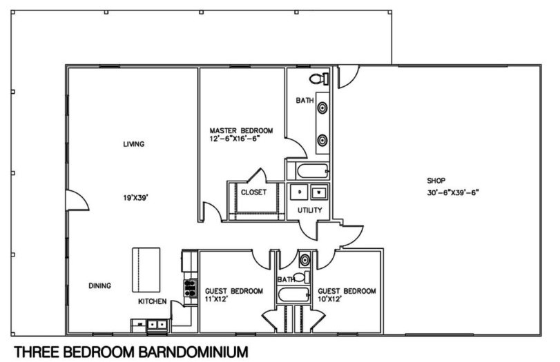 Barndominium Floor Plans 3 Bed, 1 Bath