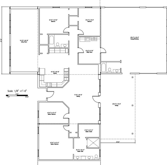 Barndominium Floor Plans 3 Bed, 2 Bath