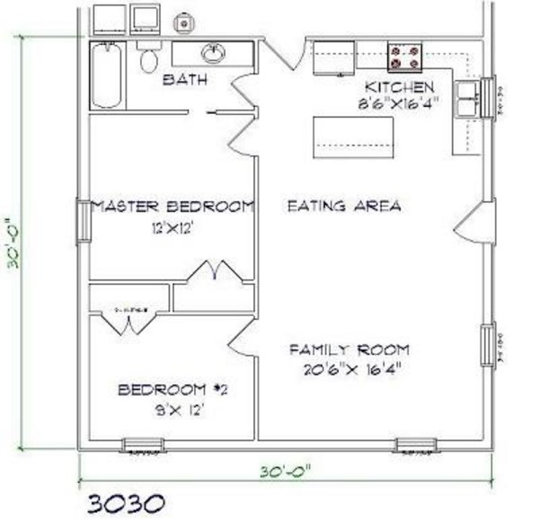 Brandominium Floor Plan 2 bed, 1 bath - 30'x30' 900 sq. ft.