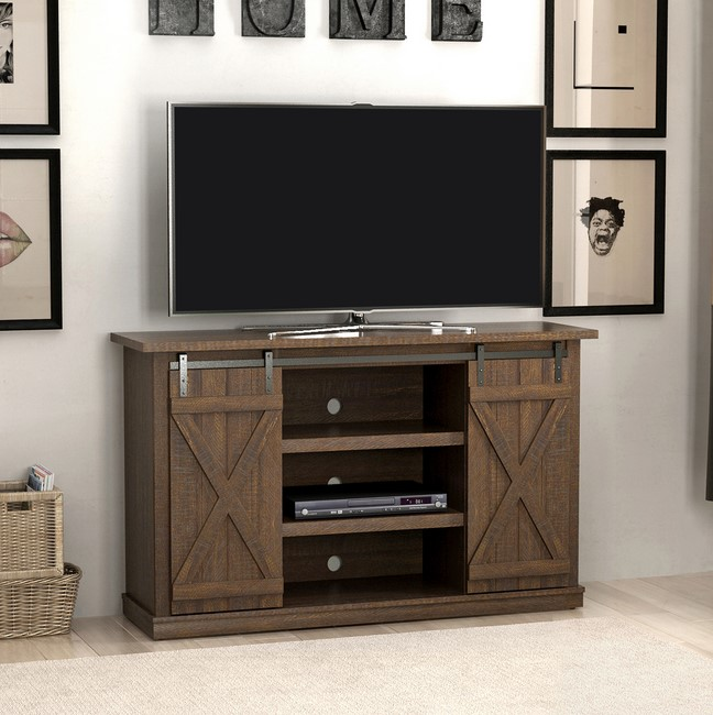 Classic Farmhouse Style TV Stand with Sliding Door