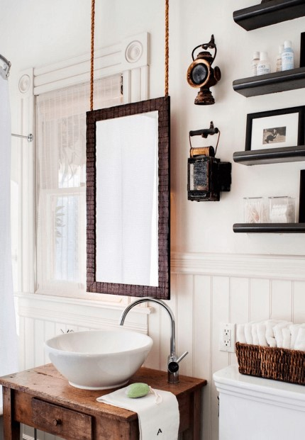 Hanging Wood Bathroom Mirror
