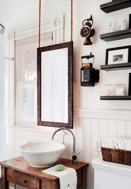 Hanging Wood Bathroom Mirror