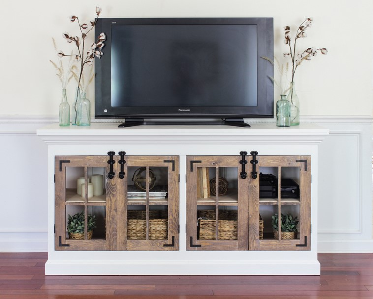 TV Stand Ideas - Farmhouse Media Cabinet