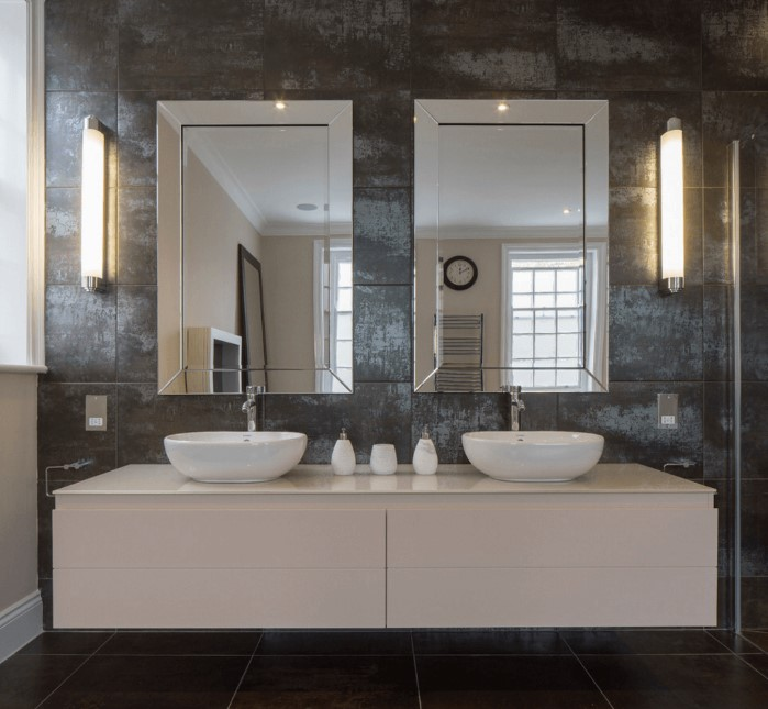 double mirror granite bathroom