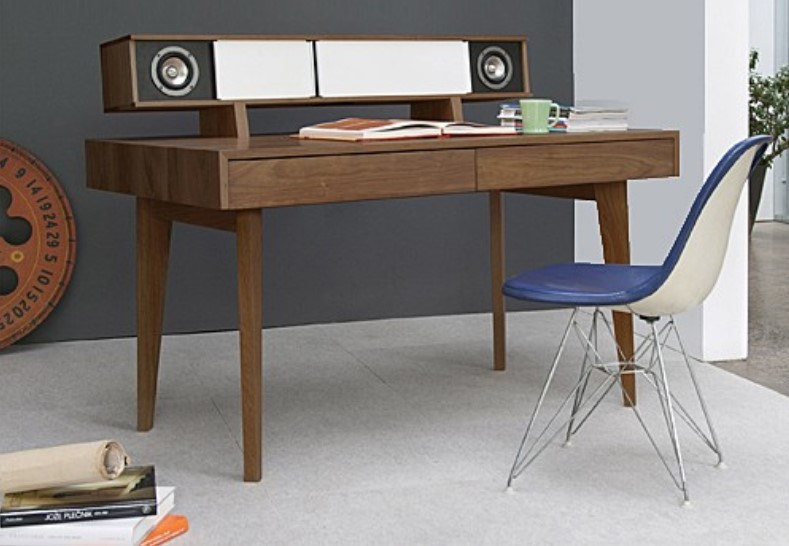 modern computer and audio desk