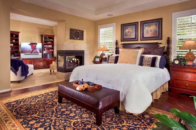 A guest room fireplace
