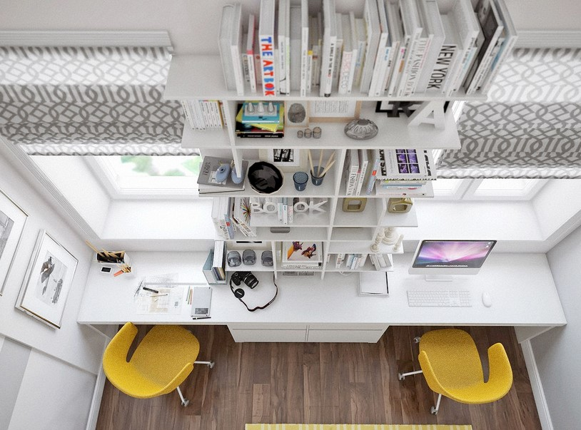 Best Two Person Desk Design with Expansive Library