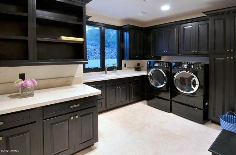 Black Cabinets Laundry Room