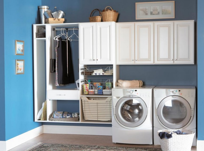 Calming Blue Laundry Room