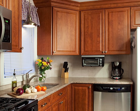granite with cherry cabinets in kitchens cherry kitchen cabinets with gray wall and quartz 8344