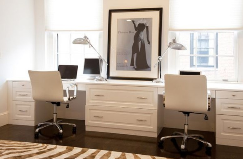 Chic Home Office with Two Person Desk Design