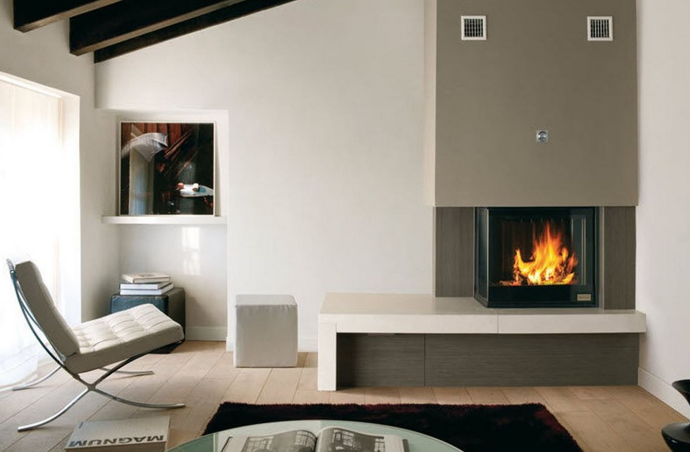 Closed Modern Corner Fireplace
