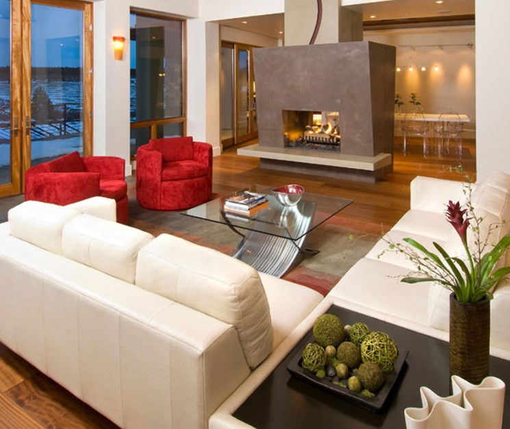 Contemporary settings - double sided fireplace