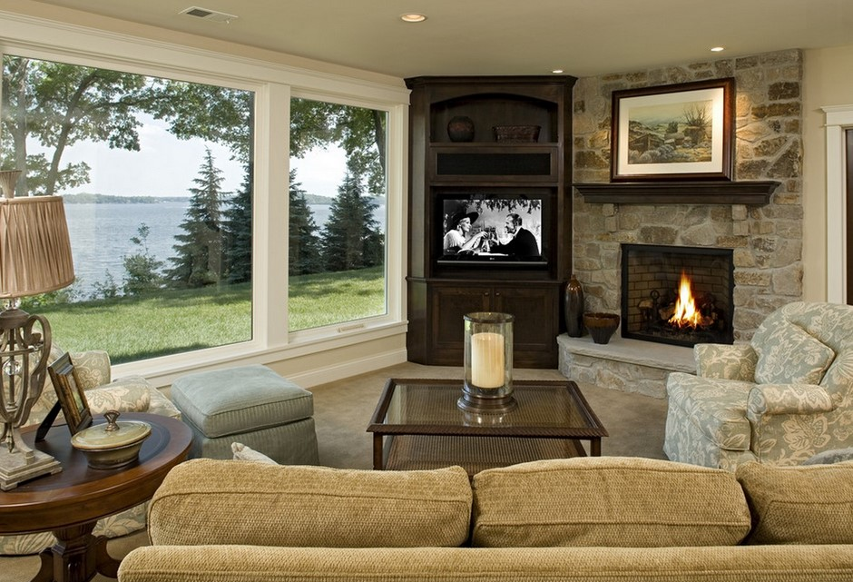 Corner TV Fireplace