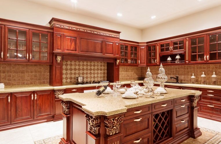cherry kitchen cabinets. Custom Traditional Style Cherry Cabinets Kitchen With Gray Wall And Quartz Countertops Ideas