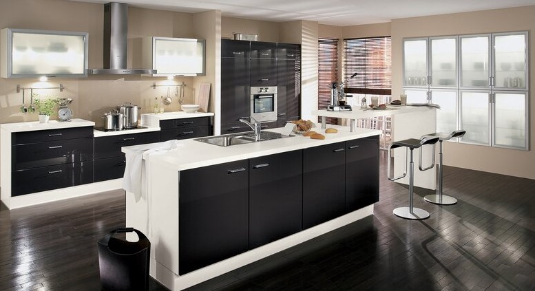 Dark Brown and White Modern Kitchen Cabinet