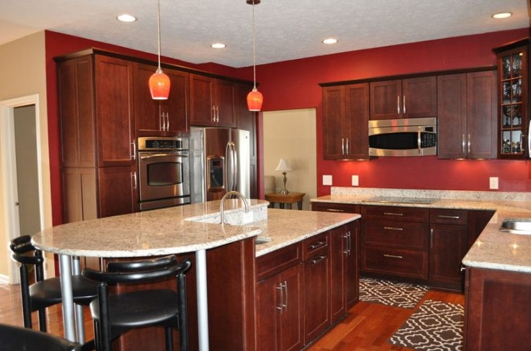 Red Kitchen Walls Gray Cabinets