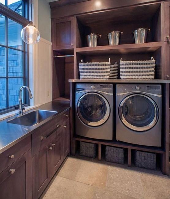Dark and Classic Basement Laundry Room