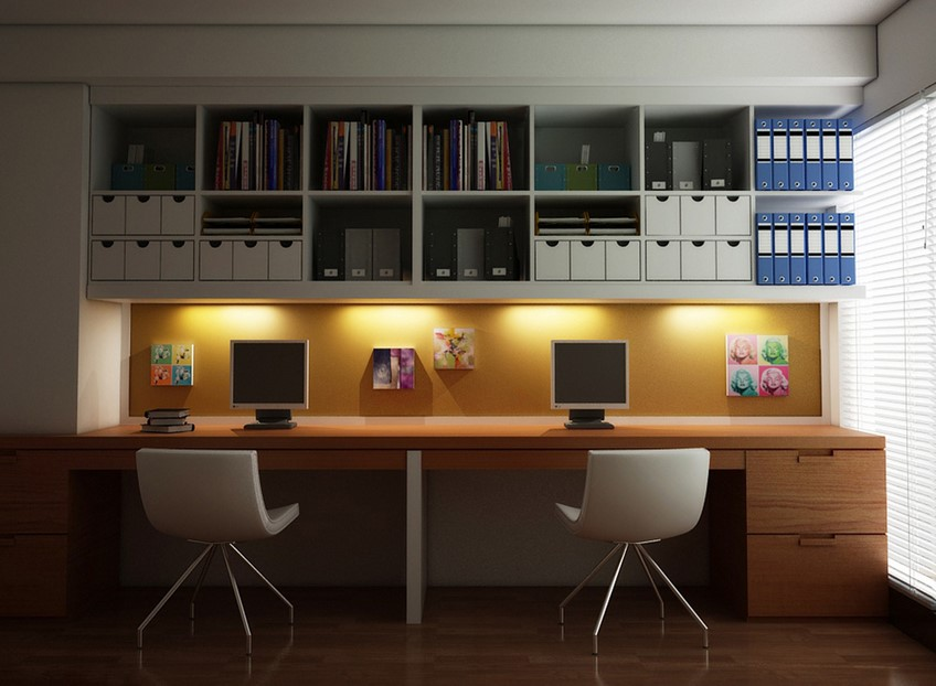 Dramatic Two Person Desk Design