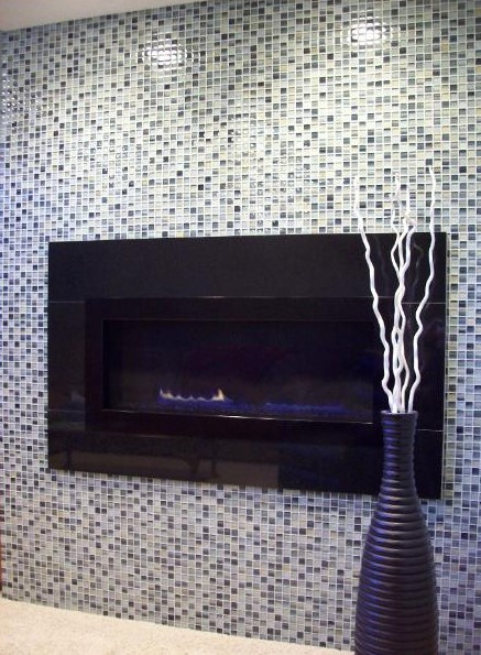 Glass Tile Mosaic Fireplace
