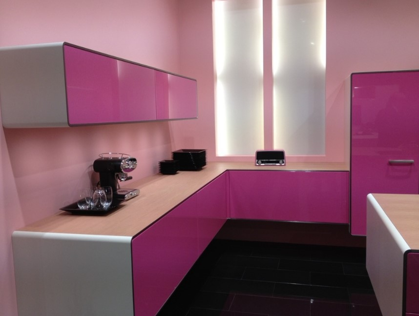 Glossy Pink Girly Kitchen Cabinet