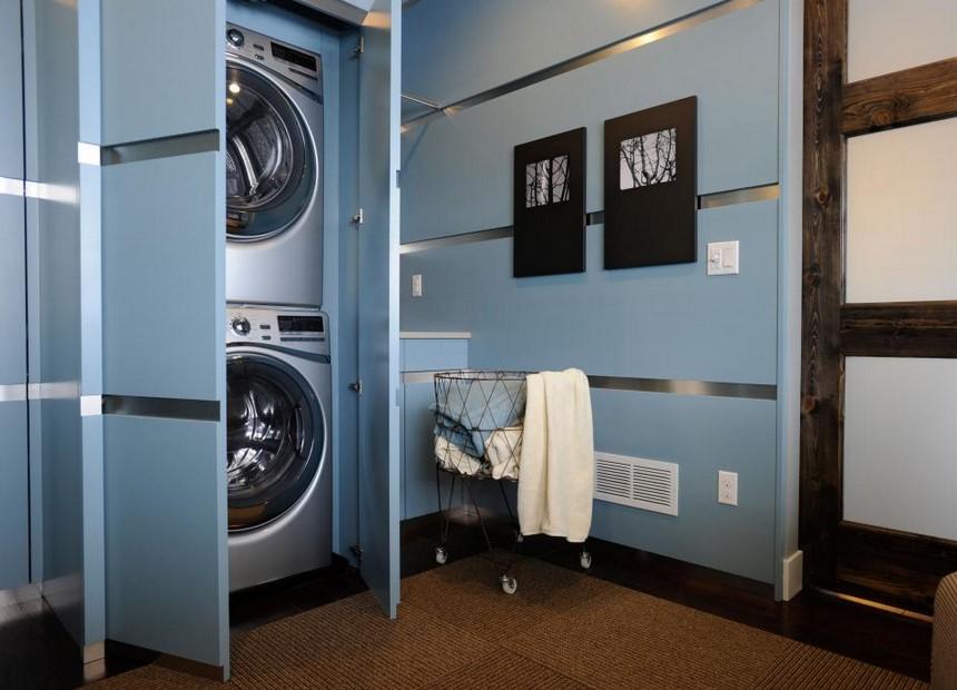 Hidden and Clean Laundry Room with Door