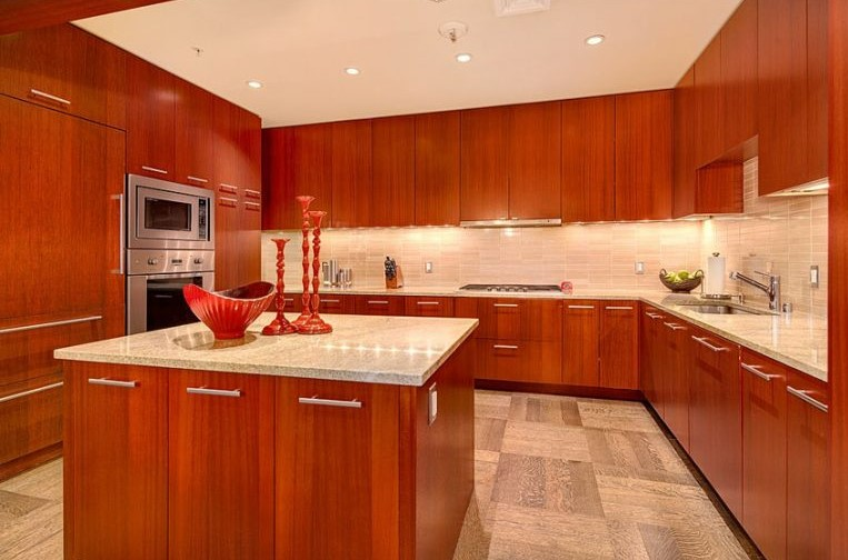 Large Contemporary Cherry Kitchen