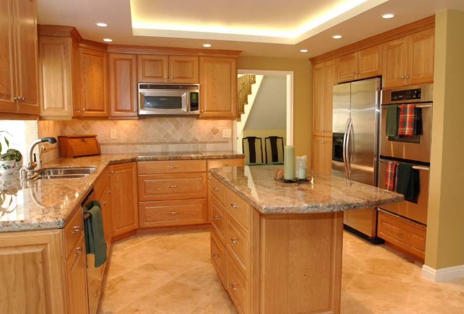 Cherry Kitchen Cabinets With Gray Wall And Quartz