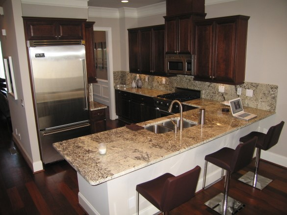 Modern Cherry Kitchen Cabinets cherry kitchen cabinets with gray wall and quartz countertops ideas