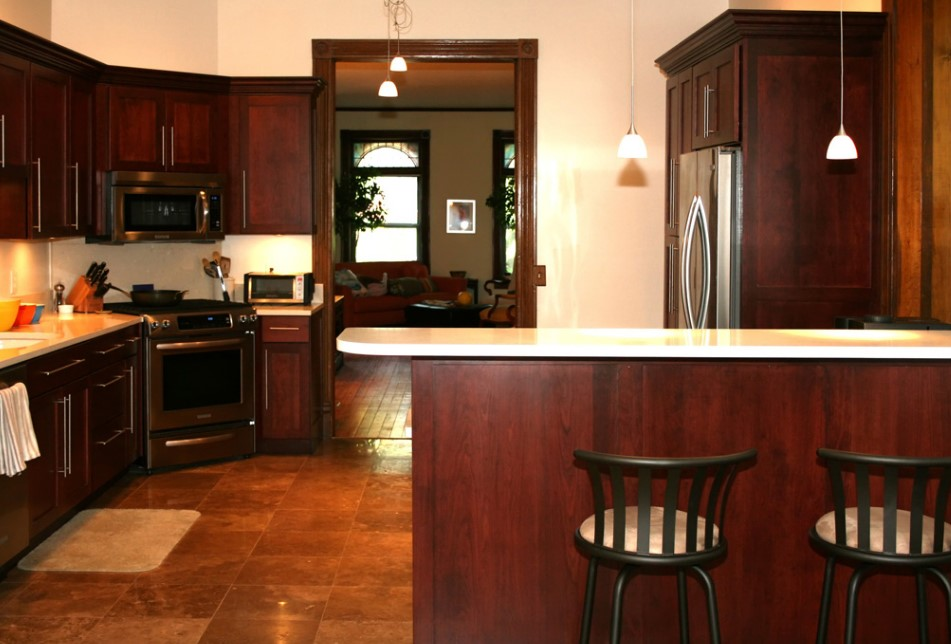 Neutral Walls With Cherry Cabinet