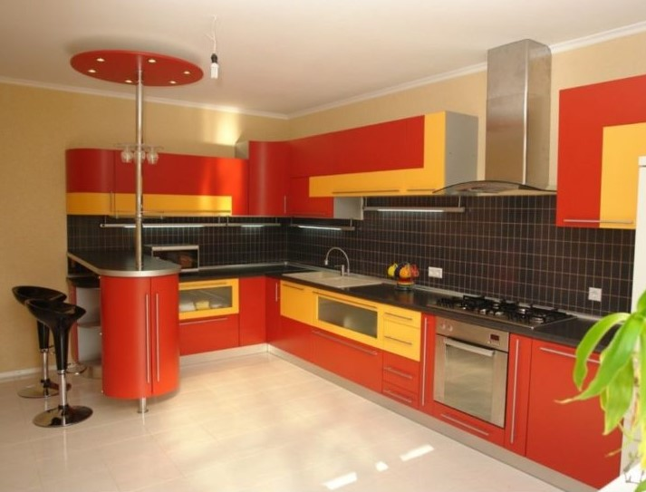 Orange and Yellow Kitchen Cabinet