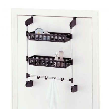 Over Door Two Basket Towel Shelf