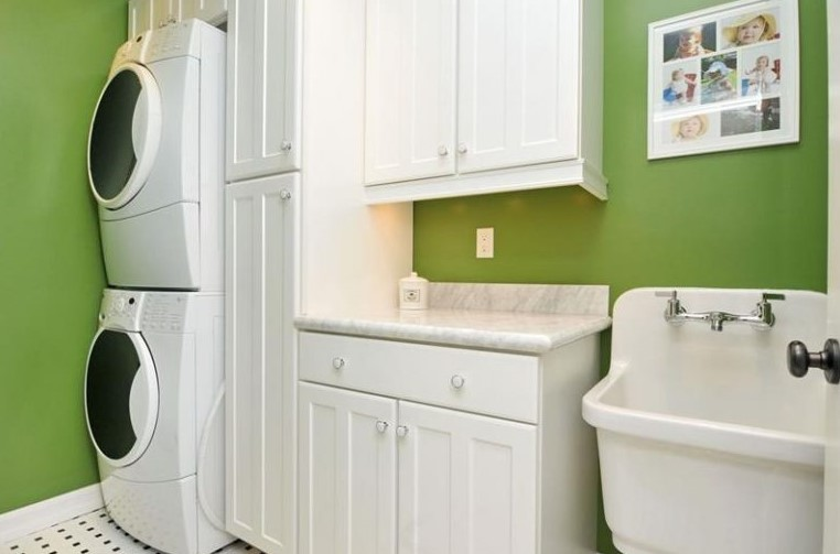 Soothing Green Laundry Room
