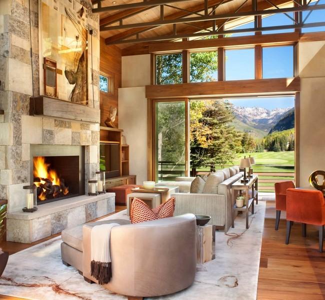 Striking Natural Stone Fireplace