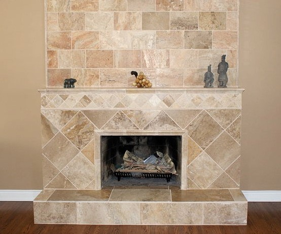 Travertine-Patterned Tile Fireplace