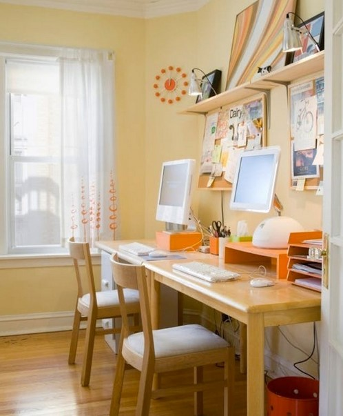 Two Person Desk Design for Small Workspace