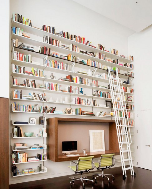 Two Person Desk Design with Expansive Library