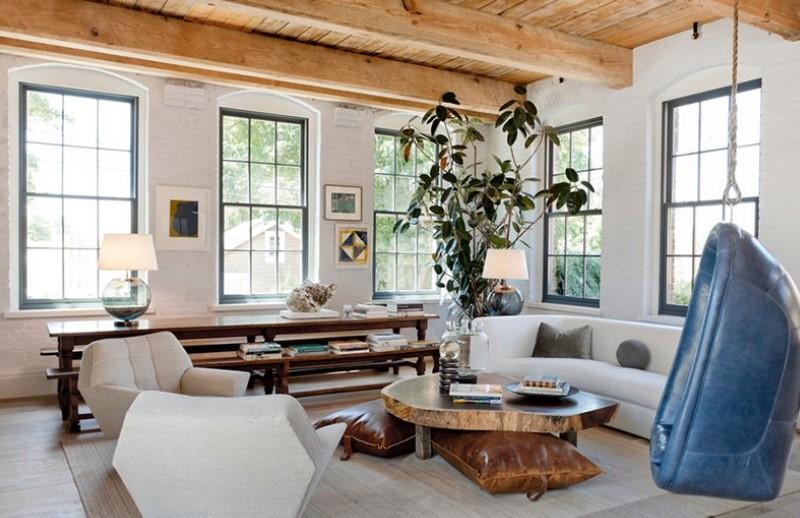 White Brick Wall Combine with Wood Furnishings