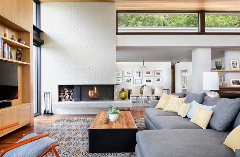 White Brick Wall Surfaces For Fireplace