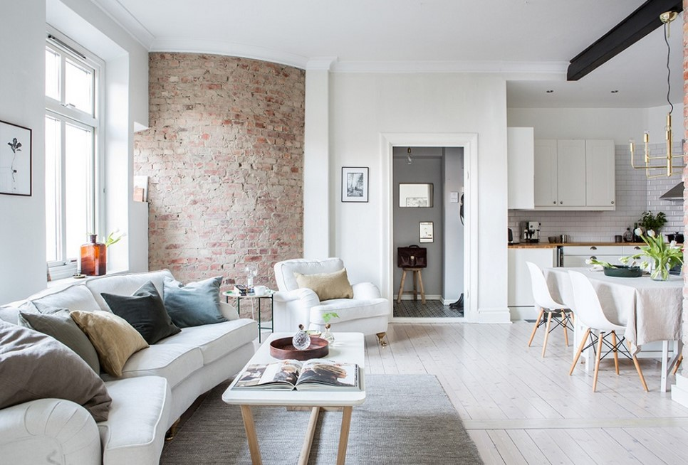White Brick Wall Surfaces Living Area Patterns