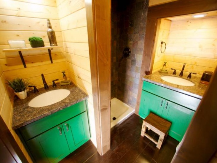 green with envy tiny bathroom