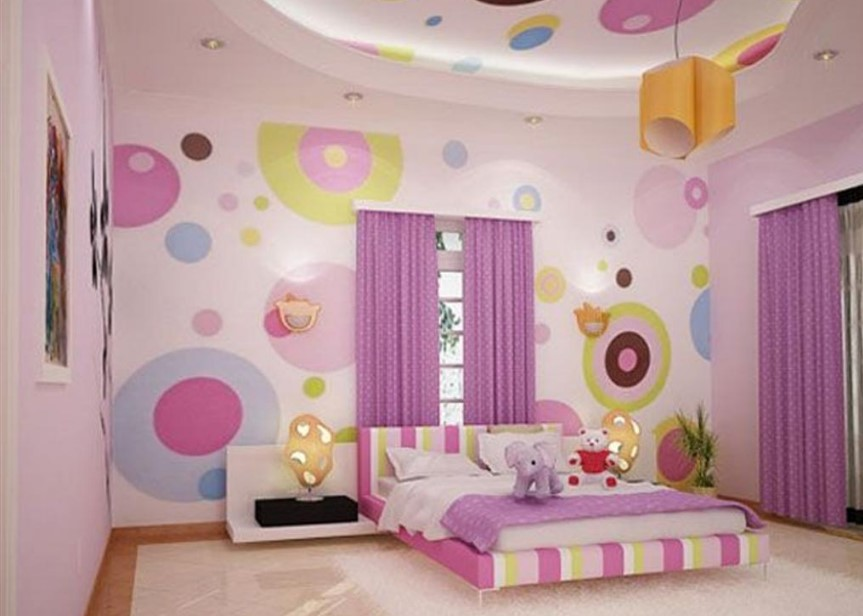 set wallpaper girls room decoration