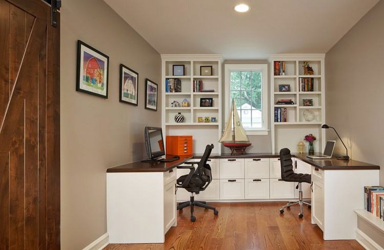 two person desk shared office