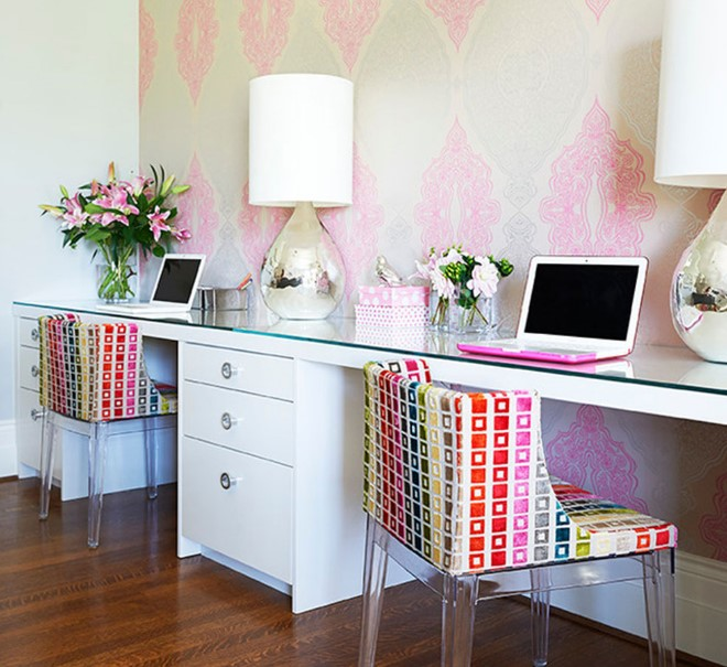 two person desk with storage space